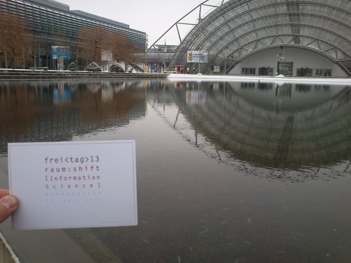 Walking through the water at the Leipzig Messe-Centre.