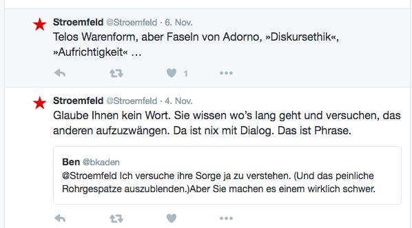 Twitterkommunikation des Stroemfeld Verlags