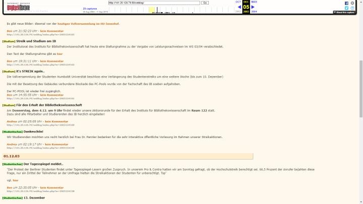 IB-Weblog - Schnappschuss aus dem Dezember 2003